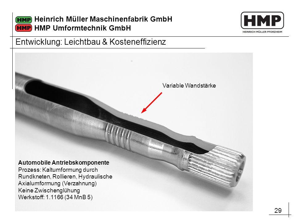29 Heinrich Müller Maschinenfabrik GmbH HMP Umformtechnik GmbH Automobile Antriebskomponente Prozess: Kaltumformung durch Rundkneten, Rollieren, Hydra