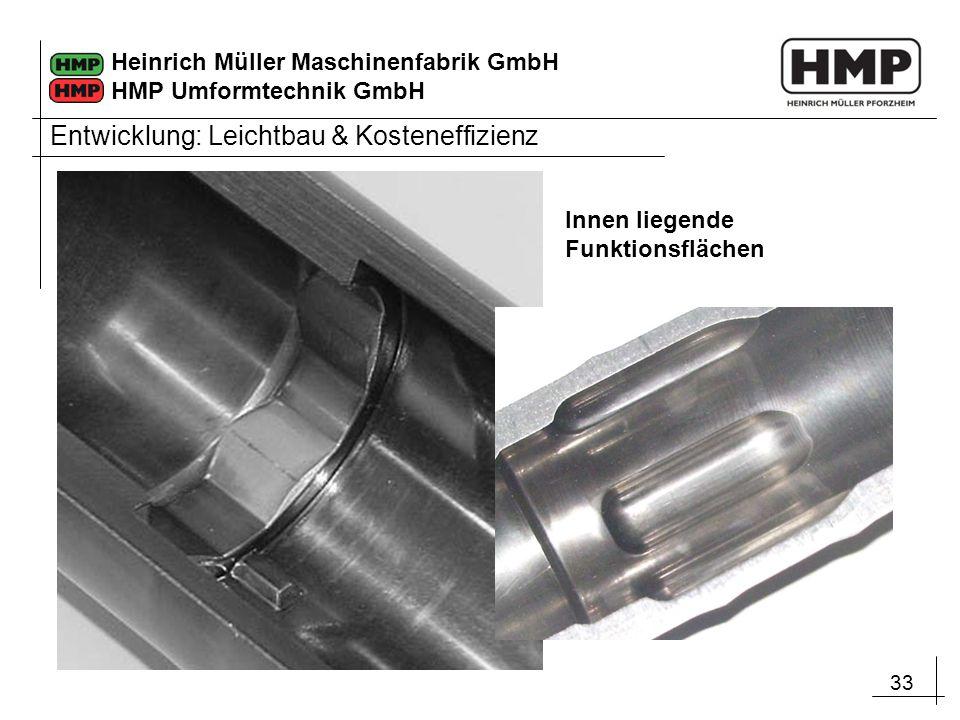 33 Heinrich Müller Maschinenfabrik GmbH HMP Umformtechnik GmbH Innen liegende Funktionsflächen Entwicklung: Leichtbau & Kosteneffizienz