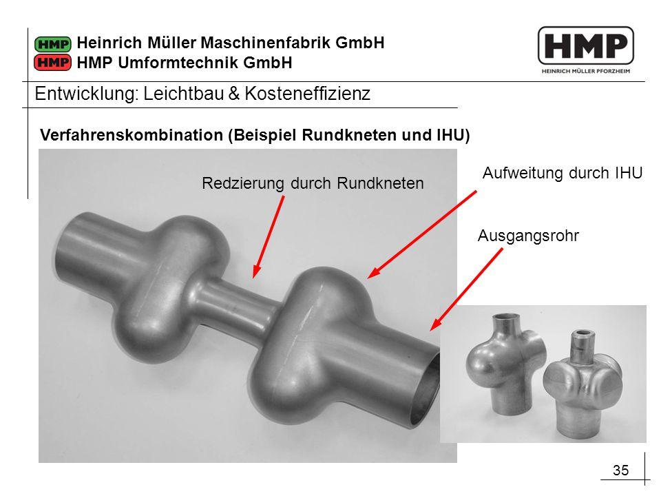 35 Heinrich Müller Maschinenfabrik GmbH HMP Umformtechnik GmbH Redzierung durch Rundkneten Aufweitung durch IHU Ausgangsrohr Entwicklung: Leichtbau &