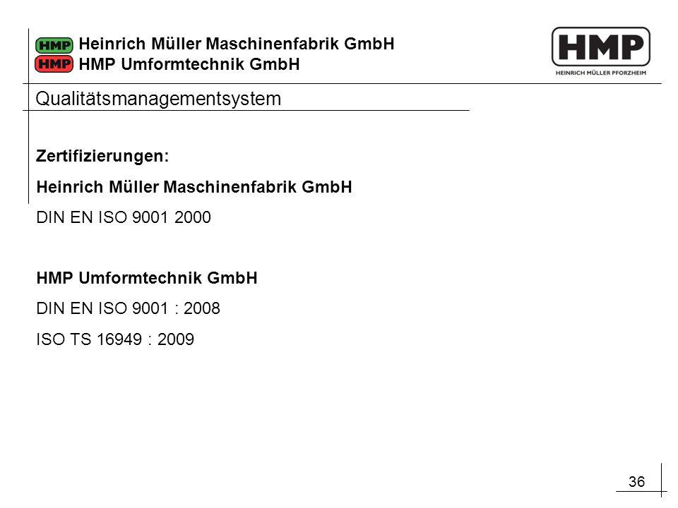 36 Heinrich Müller Maschinenfabrik GmbH HMP Umformtechnik GmbH Zertifizierungen: Heinrich Müller Maschinenfabrik GmbH DIN EN ISO 9001 2000 HMP Umformt