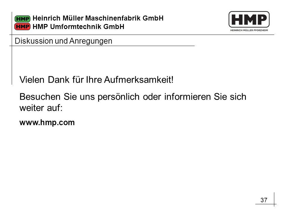 37 Heinrich Müller Maschinenfabrik GmbH HMP Umformtechnik GmbH Diskussion und Anregungen Vielen Dank für Ihre Aufmerksamkeit! Besuchen Sie uns persönl