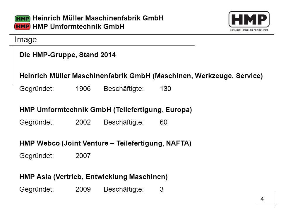 4 Heinrich Müller Maschinenfabrik GmbH HMP Umformtechnik GmbH Die HMP-Gruppe, Stand 2014 Heinrich Müller Maschinenfabrik GmbH (Maschinen, Werkzeuge, S
