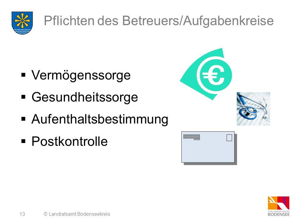 13 Pflichten des Betreuers/Aufgabenkreise  Vermögenssorge  Gesundheitssorge  Aufenthaltsbestimmung  Postkontrolle © Landratsamt Bodenseekreis