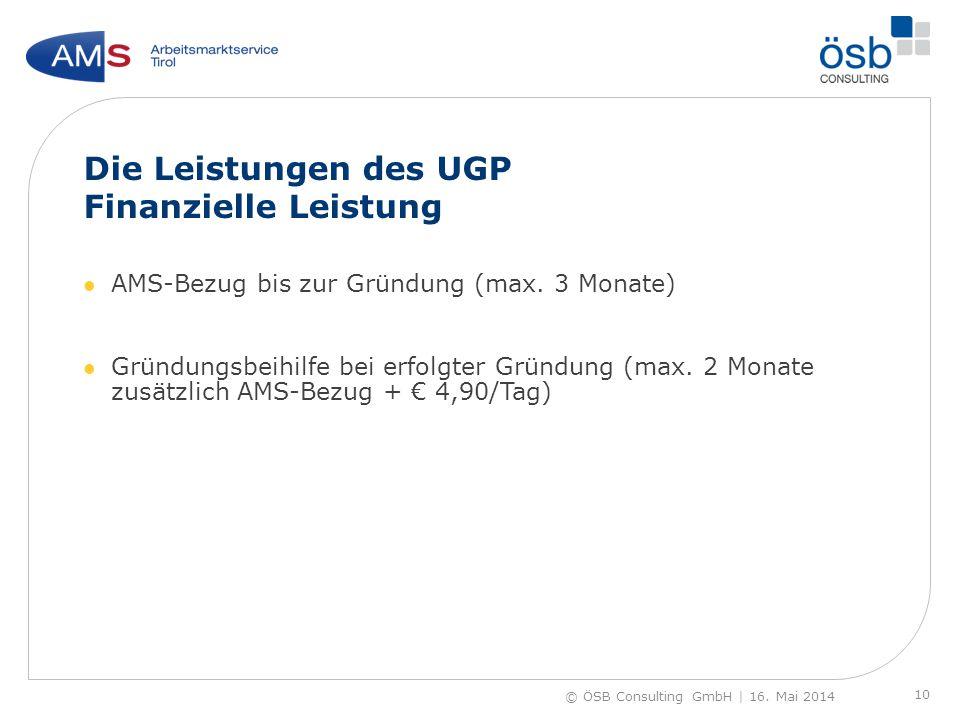 Die Leistungen des UGP Finanzielle Leistung AMS-Bezug bis zur Gründung (max. 3 Monate) Gründungsbeihilfe bei erfolgter Gründung (max. 2 Monate zusätzl