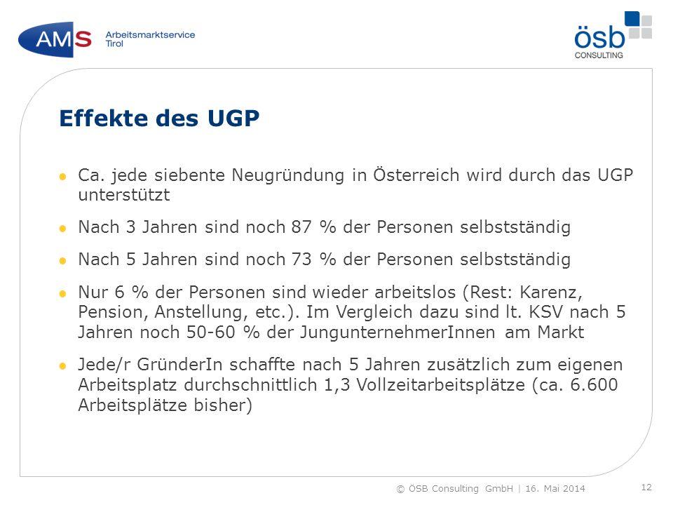 Effekte des UGP Ca. jede siebente Neugründung in Österreich wird durch das UGP unterstützt Nach 3 Jahren sind noch 87 % der Personen selbstständig Nac