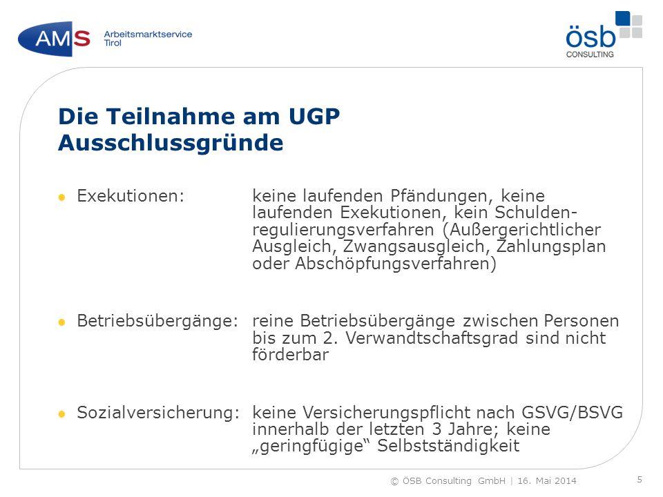 Die Teilnahme am UGP Ausschlussgründe Exekutionen:keine laufenden Pfändungen, keine laufenden Exekutionen, kein Schulden- regulierungsverfahren (Außer