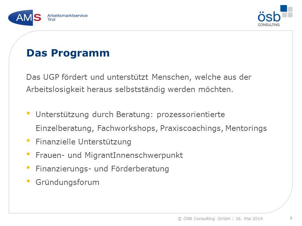 Das Programm Das UGP fördert und unterstützt Menschen, welche aus der Arbeitslosigkeit heraus selbstständig werden möchten. Unterstützung durch Beratu