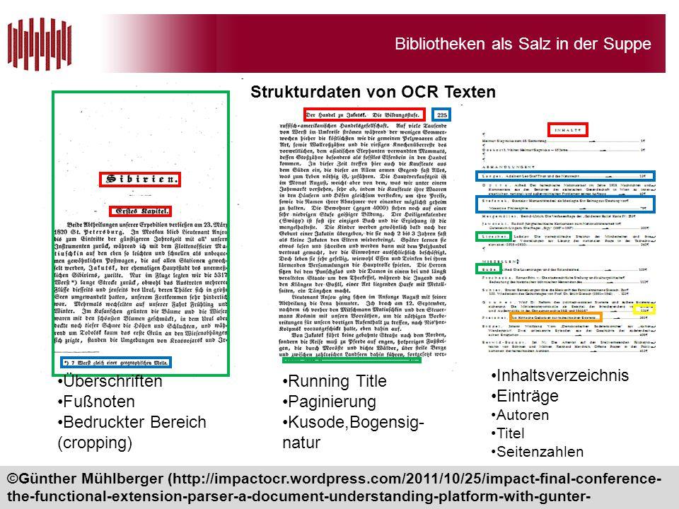 Bibliotheken als Salz in der Suppe Strukturdaten von OCR Texten 28 Überschriften Fußnoten Bedruckter Bereich (cropping) Running Title Paginierung Kuso