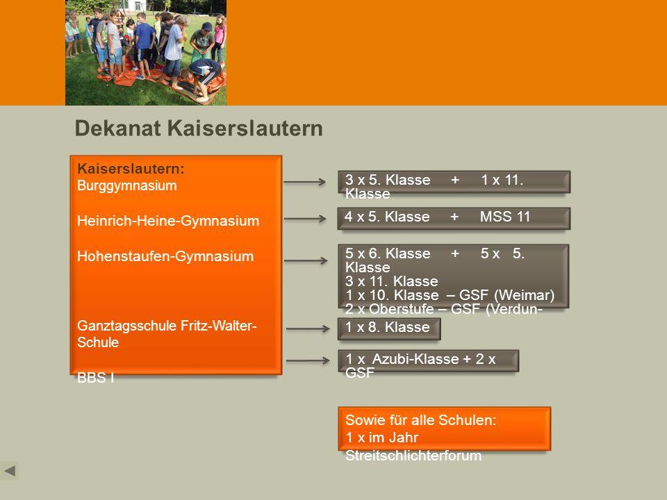 Dekanat Kaiserslautern Kaiserslautern: Burggymnasium Heinrich-Heine-Gymnasium Hohenstaufen-Gymnasium Ganztagsschule Fritz-Walter- Schule BBS I 3 x 5.