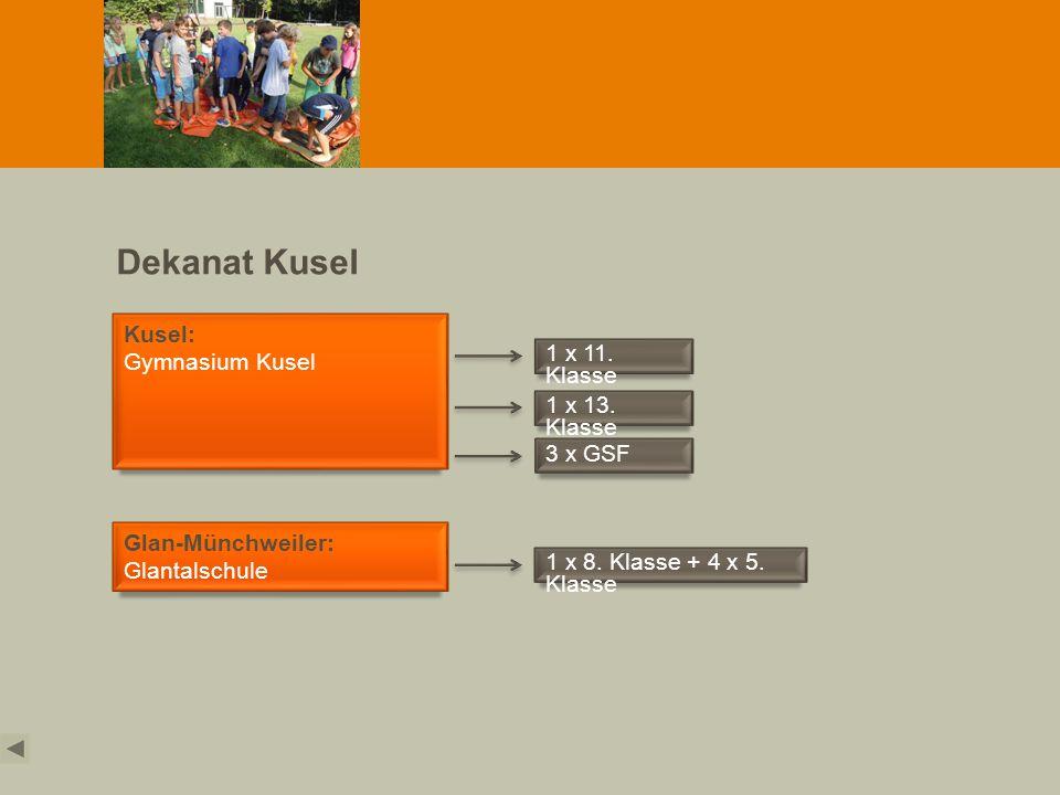 Dekanat Kusel Kusel: Gymnasium Kusel 1 x 11. Klasse 3 x GSF Glan-Münchweiler: Glantalschule 1 x 8. Klasse + 4 x 5. Klasse 1 x 13. Klasse