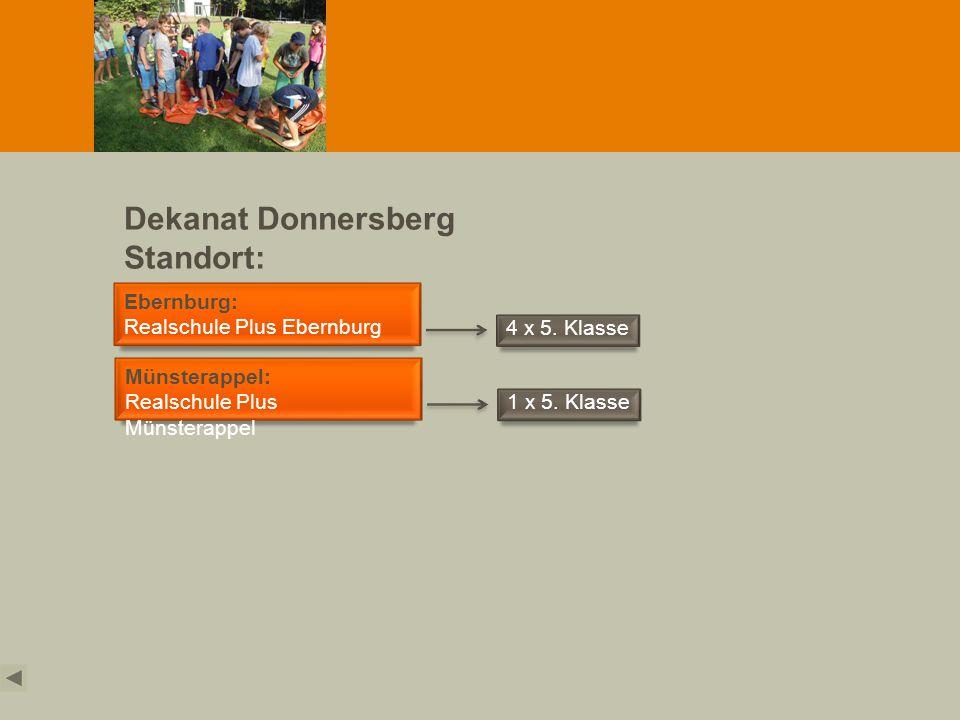 Dekanat Donnersberg Standort: Obermoschel Ebernburg: Realschule Plus Ebernburg 4 x 5. Klasse Münsterappel: Realschule Plus Münsterappel 1 x 5. Klasse