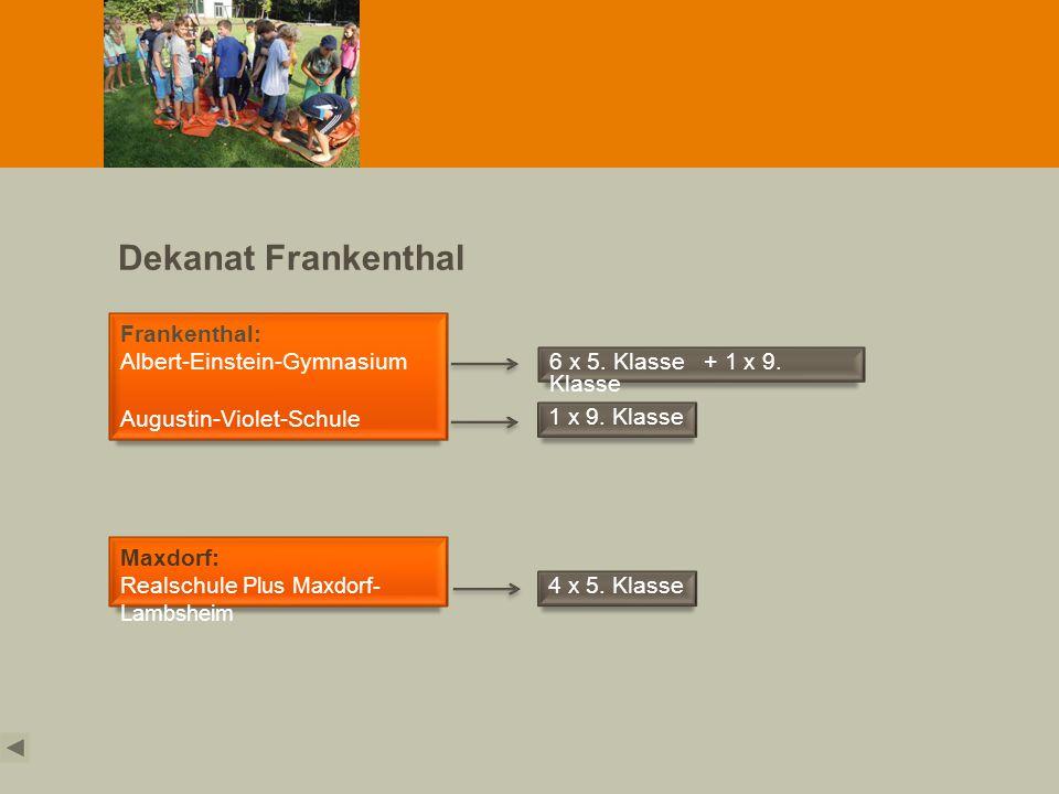 Dekanat Frankenthal Frankenthal: Albert-Einstein-Gymnasium Augustin-Violet-Schule Maxdorf: Realschule Plus Maxdorf- Lambsheim 6 x 5. Klasse + 1 x 9. K