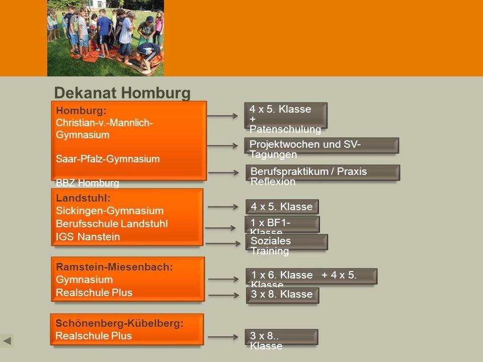 Dekanat Homburg Homburg: Christian-v.-Mannlich- Gymnasium Saar-Pfalz-Gymnasium BBZ Homburg Ramstein-Miesenbach: Gymnasium Realschule Plus Landstuhl: S