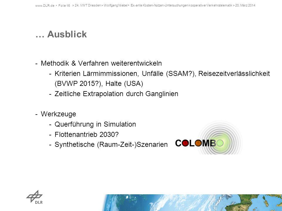 … Ausblick -Methodik & Verfahren weiterentwickeln -Kriterien Lärmimmissionen, Unfälle (SSAM?), Reisezeitverlässlichkeit (BVWP 2015?), Halte (USA) -Zei