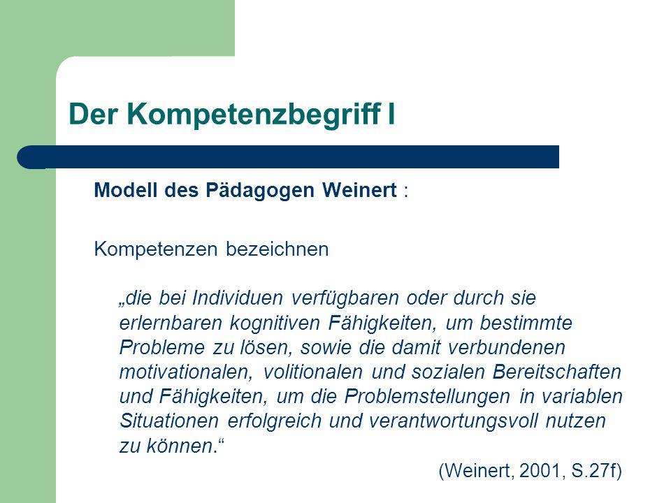 """Der Kompetenzbegriff II """"Kompetenzen stellen die Verbindung von Wissen und Können her."""