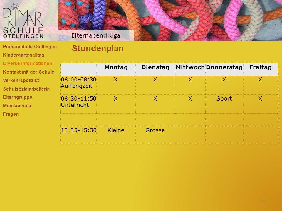 Stundenplan Primarschule Otelfingen Kindergartenalltag Diverse Informationen Kontakt mit der Schule Verkehrspolizist Schulsozialarbeiterin Elterngrupp