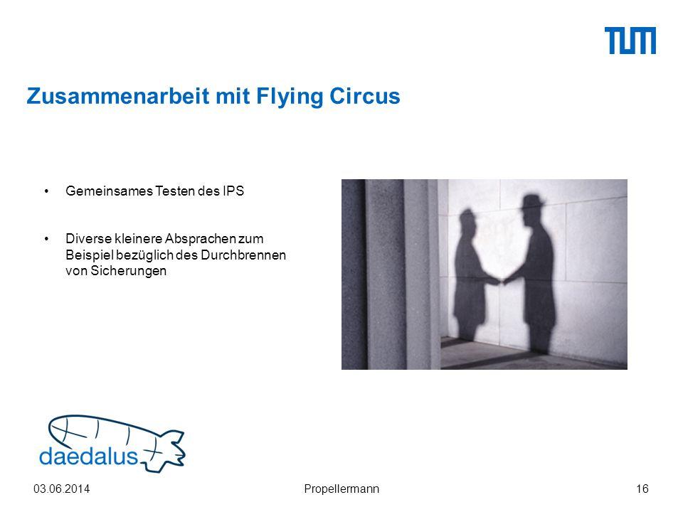 Zusammenarbeit mit Flying Circus 03.06.2014Propellermann16 Gemeinsames Testen des IPS Diverse kleinere Absprachen zum Beispiel bezüglich des Durchbren