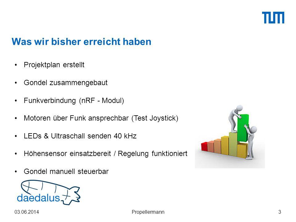 Was wir bisher erreicht haben 03.06.2014Propellermann3 Projektplan erstellt Gondel zusammengebaut Funkverbindung (nRF - Modul) Motoren über Funk anspr