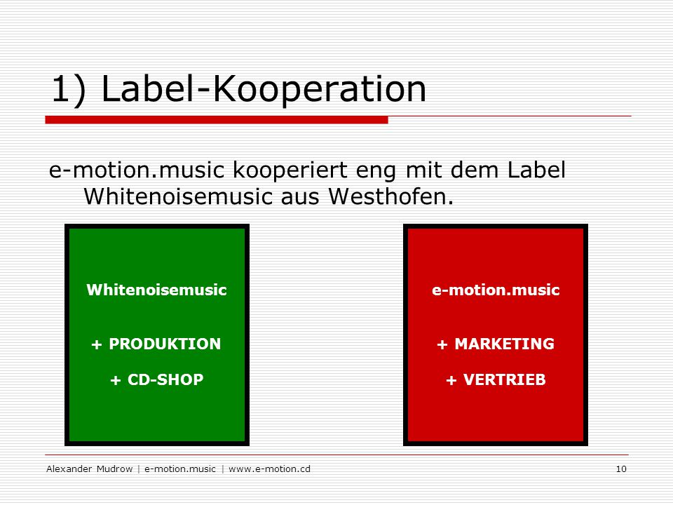 Alexander Mudrow | e-motion.music | www.e-motion.cd10 1) Label-Kooperation e-motion.music kooperiert eng mit dem Label Whitenoisemusic aus Westhofen.