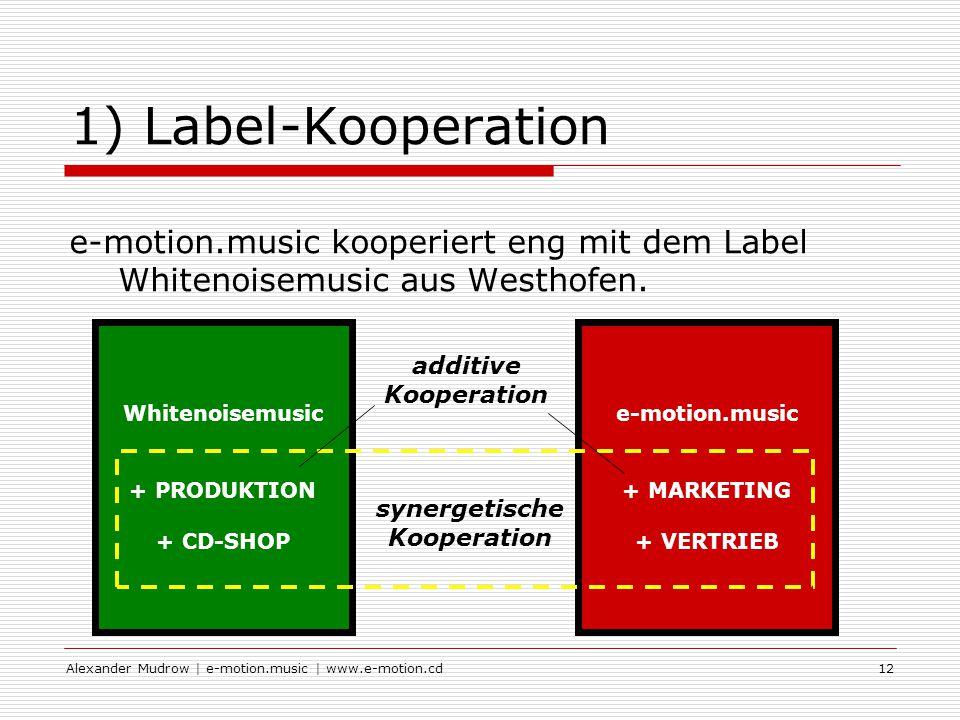 Alexander Mudrow | e-motion.music | www.e-motion.cd12 1) Label-Kooperation e-motion.music kooperiert eng mit dem Label Whitenoisemusic aus Westhofen.