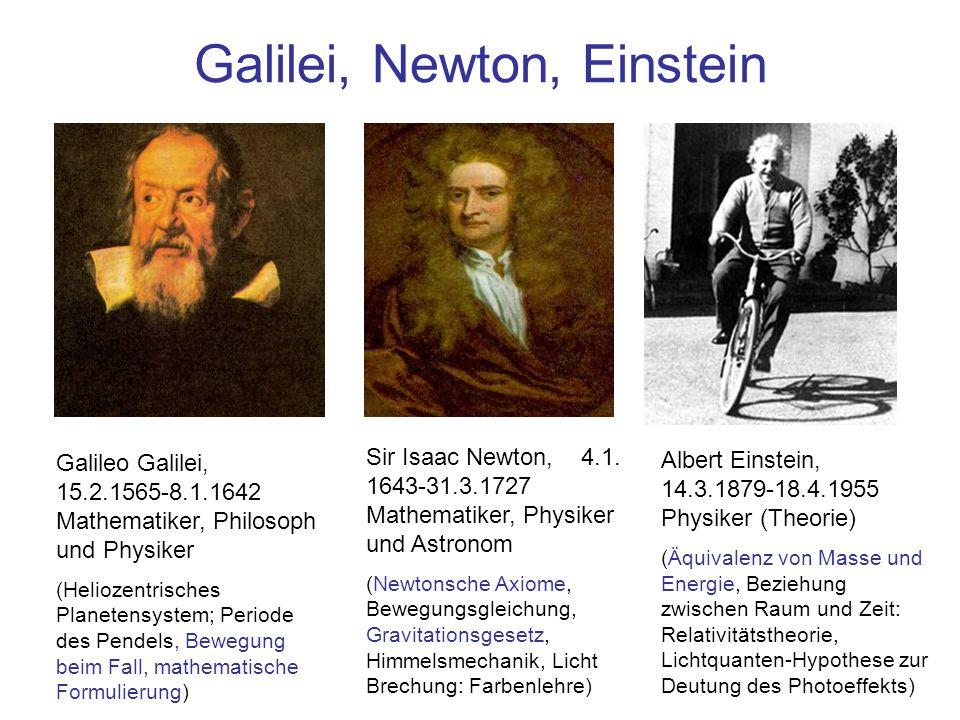 Galilei, Newton, Einstein Sir Isaac Newton, 4.1. 1643-31.3.1727 Mathematiker, Physiker und Astronom (Newtonsche Axiome, Bewegungsgleichung, Gravitatio
