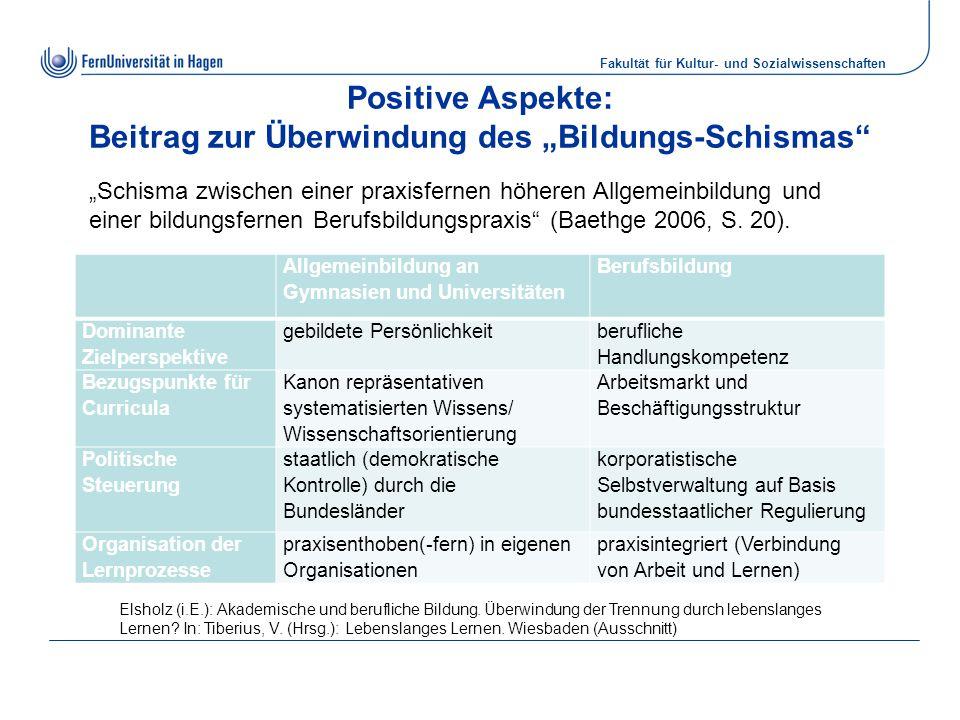 """Fakultät für Kultur- und Sozialwissenschaften Positive Aspekte: Beitrag zur Überwindung des """"Bildungs-Schismas"""" Allgemeinbildung an Gymnasien und Univ"""