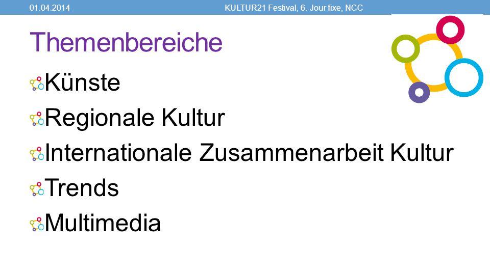 Themenbereiche Künste Regionale Kultur Internationale Zusammenarbeit Kultur Trends Multimedia 01.04.2014KULTUR21 Festival, 6.