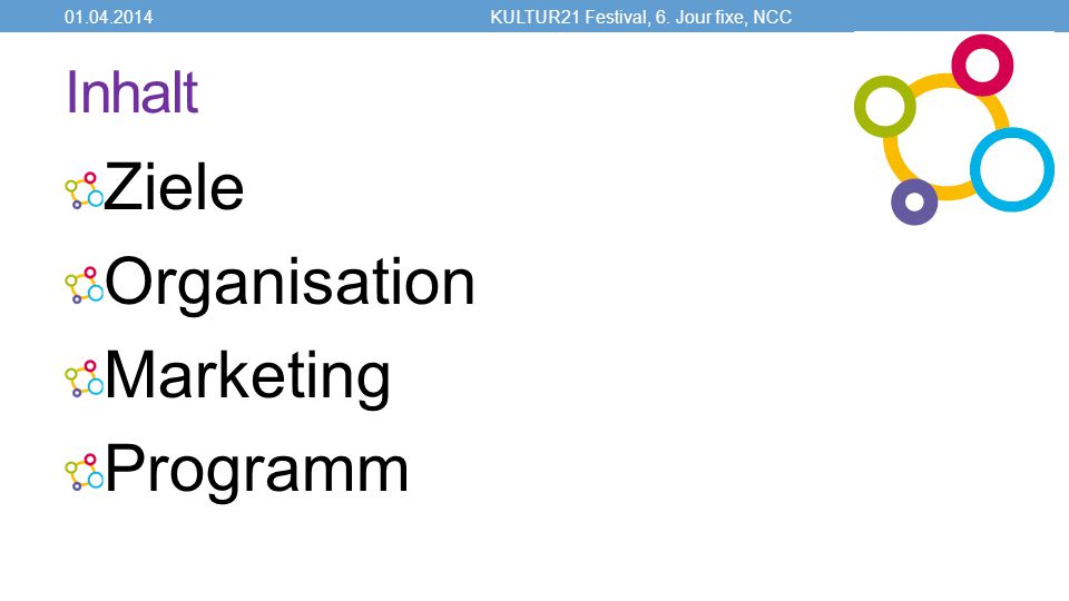 Inhalt Ziele Organisation Marketing Programm 01.04.2014KULTUR21 Festival, 6. Jour fixe, NCC