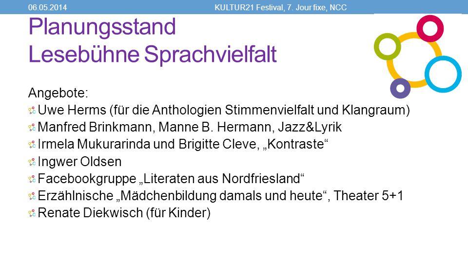 Planungsstand Lesebühne Sprachvielfalt Angebote: Uwe Herms (für die Anthologien Stimmenvielfalt und Klangraum) Manfred Brinkmann, Manne B.