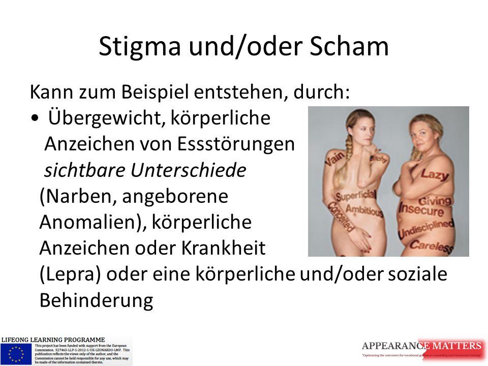 Stigma und/oder Scham Kann zum Beispiel entstehen, durch: Übergewicht, körperliche Anzeichen von Essstörungen sichtbare Unterschiede (Narben, angeborene Anomalien), körperliche Anzeichen oder Krankheit (Lepra) oder eine körperliche und/oder soziale Behinderung