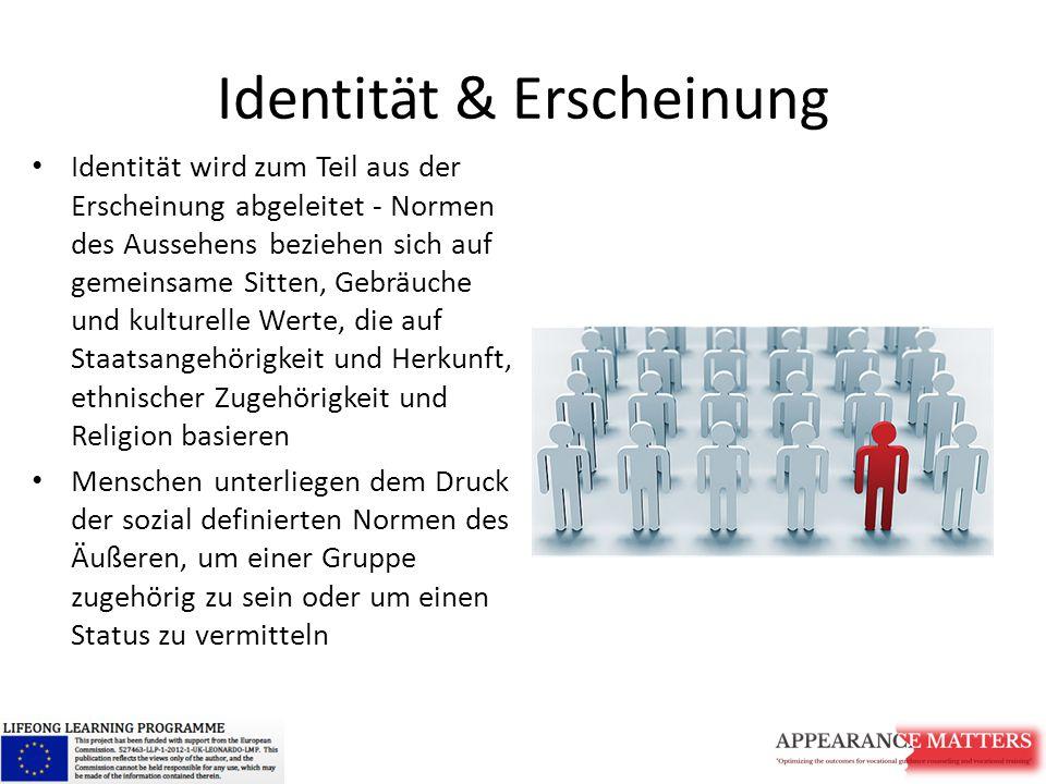 Identität & Erscheinung Identität wird zum Teil aus der Erscheinung abgeleitet - Normen des Aussehens beziehen sich auf gemeinsame Sitten, Gebräuche und kulturelle Werte, die auf Staatsangehörigkeit und Herkunft, ethnischer Zugehörigkeit und Religion basieren Menschen unterliegen dem Druck der sozial definierten Normen des Äußeren, um einer Gruppe zugehörig zu sein oder um einen Status zu vermitteln