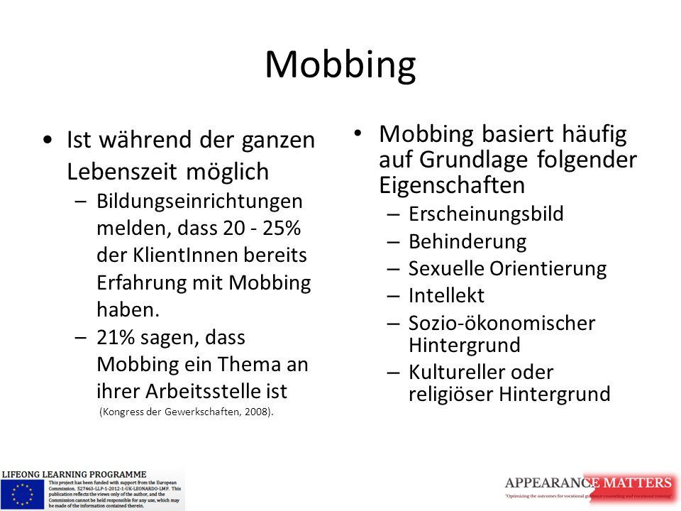 Mobbing Ist während der ganzen Lebenszeit möglich –Bildungseinrichtungen melden, dass 20 - 25% der KlientInnen bereits Erfahrung mit Mobbing haben.