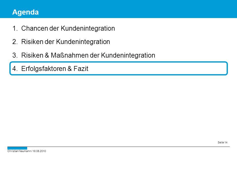 Christian Naumann / 18.06.2010 Seite 14 1.Chancen der Kundenintegration 2.Risiken der Kundenintegration 3.Risiken & Maßnahmen der Kundenintegration 4.