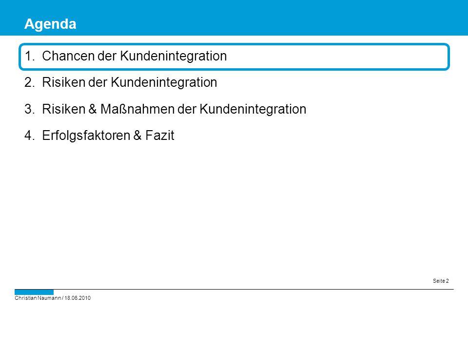 Christian Naumann / 18.06.2010 Seite 2 1.Chancen der Kundenintegration 2.Risiken der Kundenintegration 3.Risiken & Maßnahmen der Kundenintegration 4.E