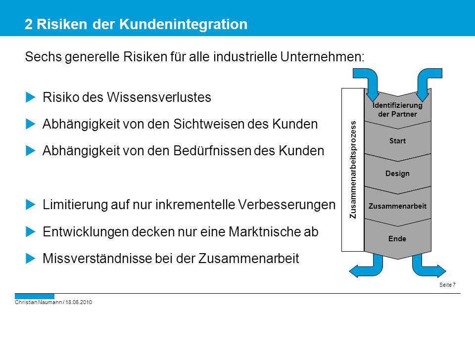 Christian Naumann / 18.06.2010 Seite 7 Sechs generelle Risiken für alle industrielle Unternehmen:  Risiko des Wissensverlustes  Abhängigkeit von den