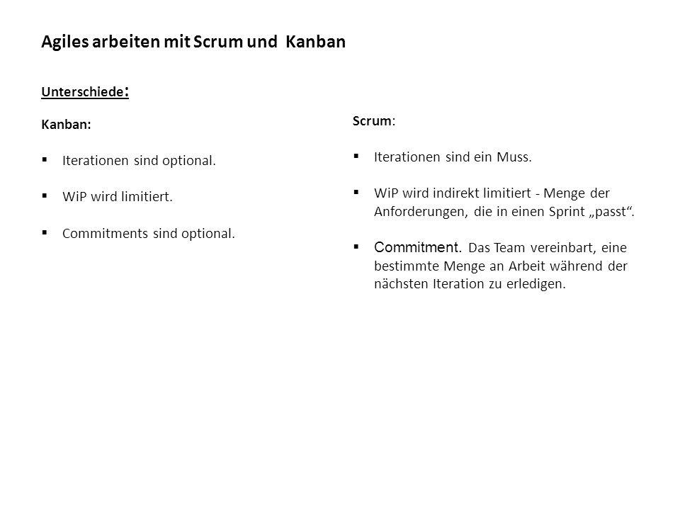 Agiles arbeiten mit Scrum und Kanban Unterschiede : Scrum:  Iterationen sind ein Muss.  WiP wird indirekt limitiert - Menge der Anforderungen, die i