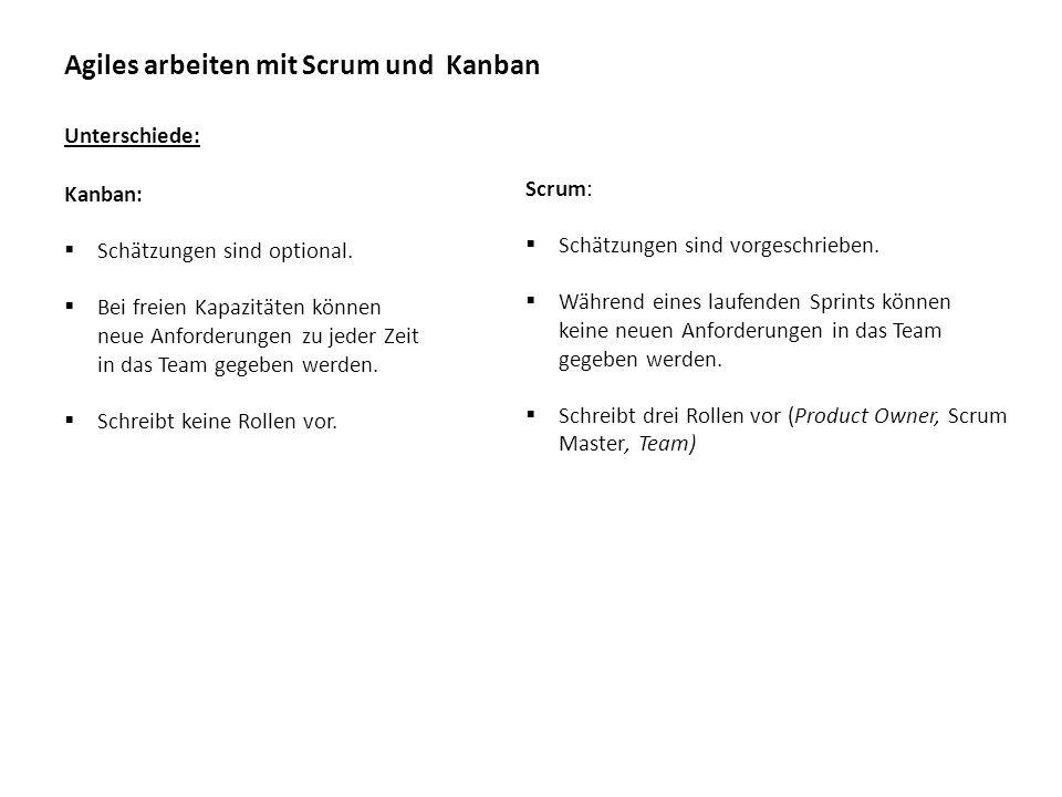 Agiles arbeiten mit Scrum und Kanban Unterschiede: Scrum:  Scrum-Board wird nach jedem Sprint neu aufgesetzt.