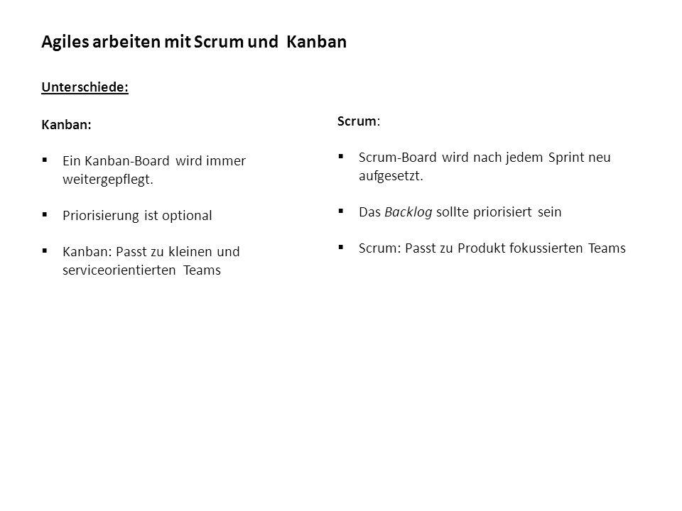 Agiles arbeiten mit Scrum und Kanban Unterschiede: Scrum:  Scrum-Board wird nach jedem Sprint neu aufgesetzt.  Das Backlog sollte priorisiert sein 