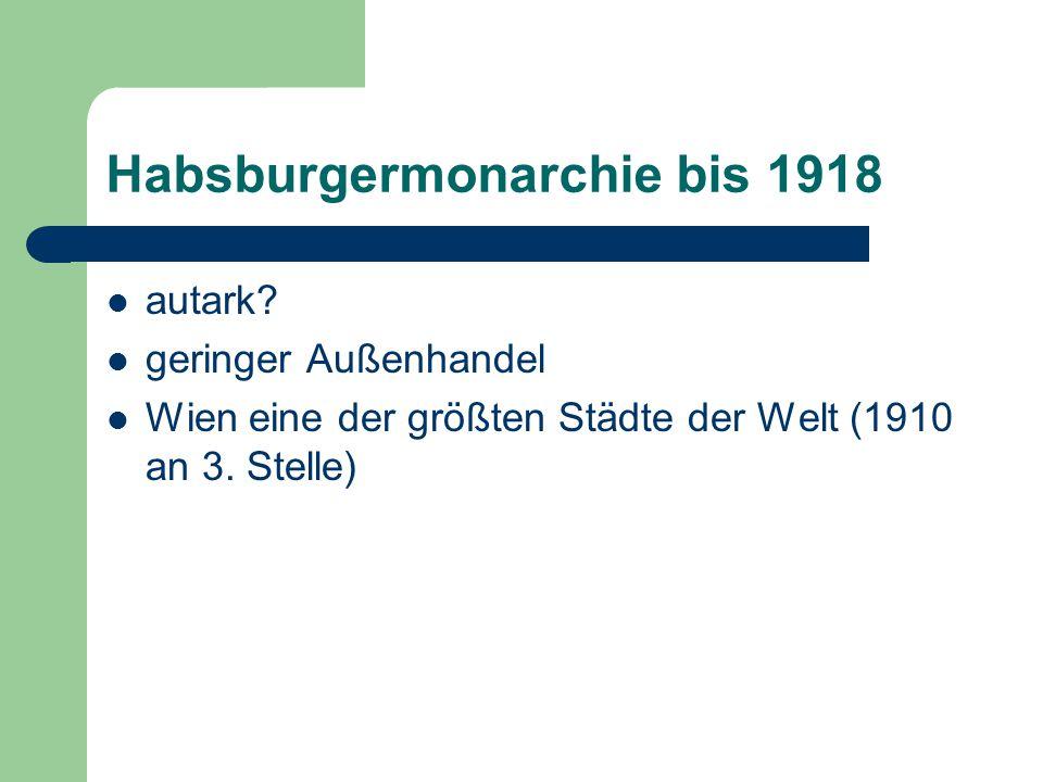 Vom Großstaat zum Kleinstaat (1918 – 1938) 676.615 km²  83.870 km² 52,8 Millionen  6,5 Millionen Einwohner Wien 2.031.000 Einwohner (heute: 1.600.000) Wien als Wasserkopf Welche Probleme ergaben sich für Wien durch den Zerfall der Monarchie (M3)?