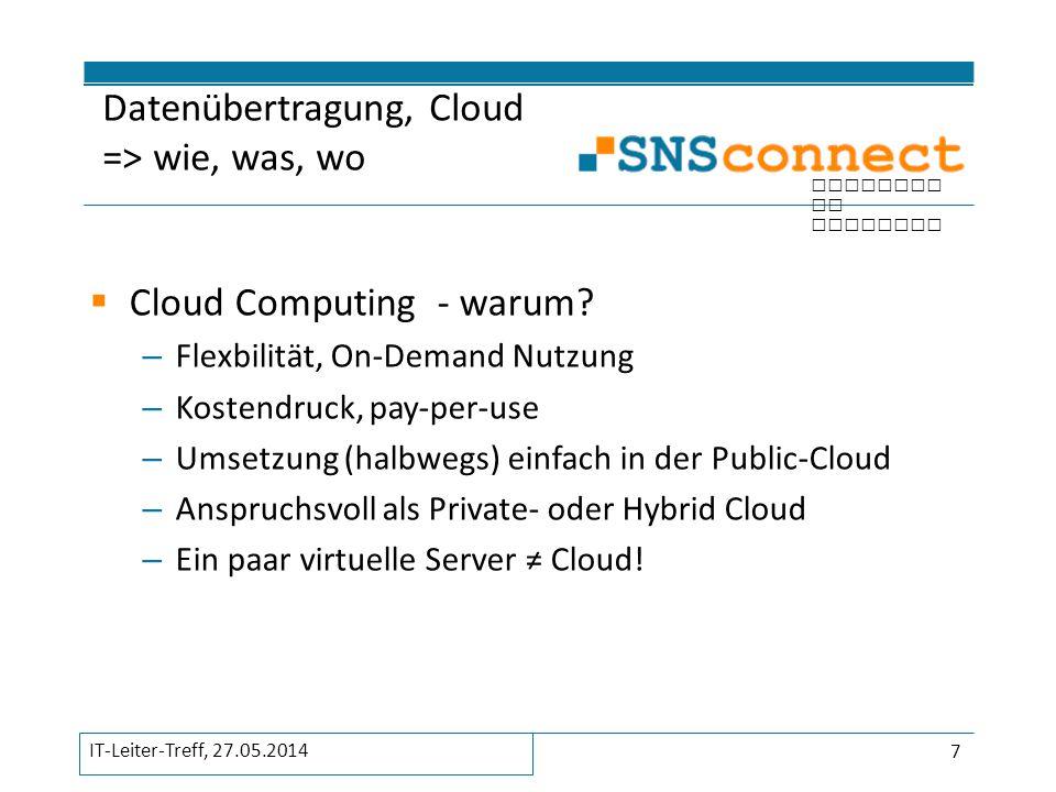 inspired by security  SNS Connect GmbH Markus Sextro Hessen-Homburg-Platz 1 63452 Hanau ms@snsconnect.de Kontakt 28 IT-Leiter-Treff, 27.05.2014