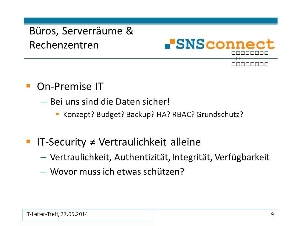 inspired by security  On-Premise IT – Bei uns sind die Daten sicher!  Konzept? Budget? Backup? HA? RBAC? Grundschutz?  IT-Security ≠ Vertraulichkei