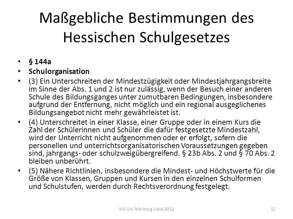 Maßgebliche Bestimmungen des Hessischen Schulgesetzes § 144a Schulorganisation (3) Ein Unterschreiten der Mindestzügigkeit oder Mindestjahrgangsbreite