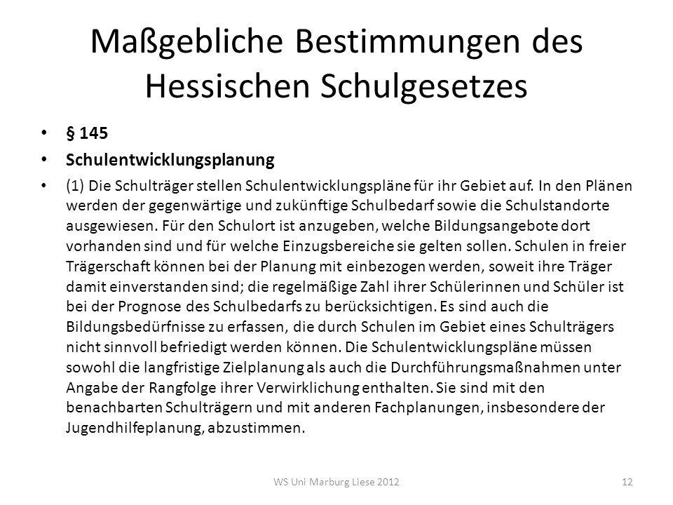 Maßgebliche Bestimmungen des Hessischen Schulgesetzes § 145 Schulentwicklungsplanung (1) Die Schulträger stellen Schulentwicklungspläne für ihr Gebiet