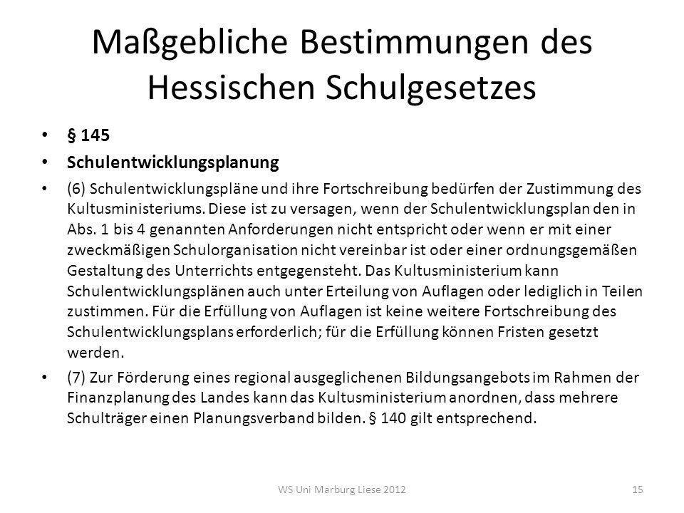 Maßgebliche Bestimmungen des Hessischen Schulgesetzes § 145 Schulentwicklungsplanung (6) Schulentwicklungspläne und ihre Fortschreibung bedürfen der Z