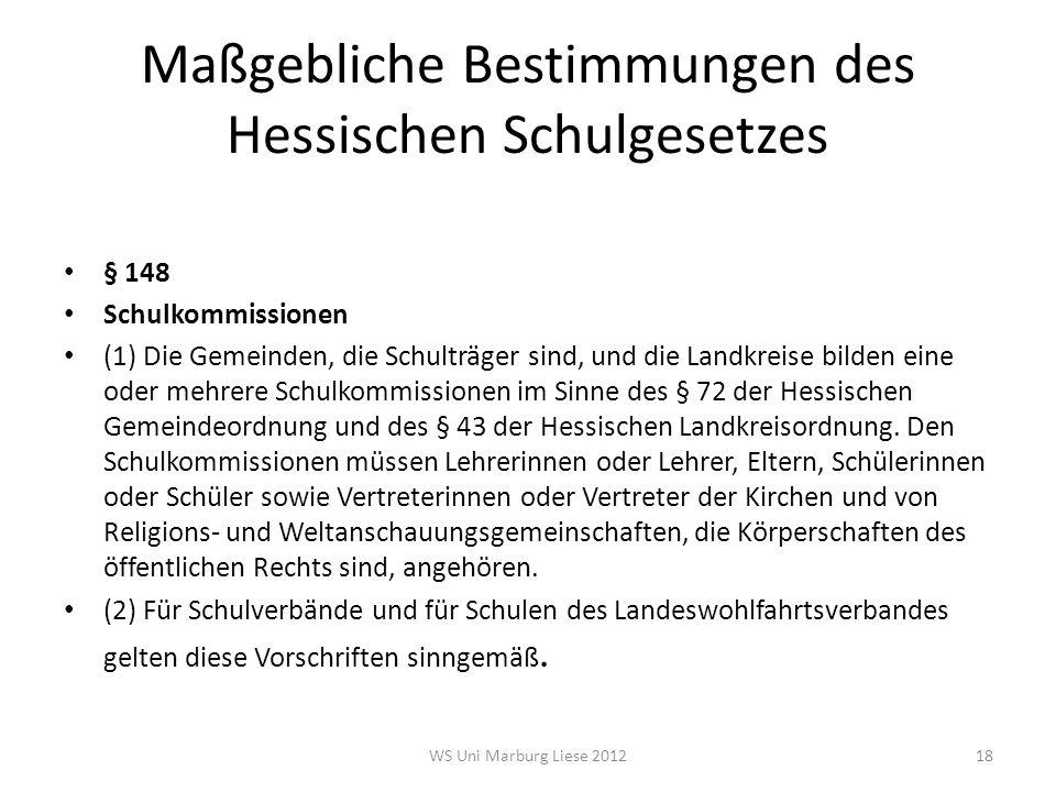 Maßgebliche Bestimmungen des Hessischen Schulgesetzes § 148 Schulkommissionen (1) Die Gemeinden, die Schulträger sind, und die Landkreise bilden eine