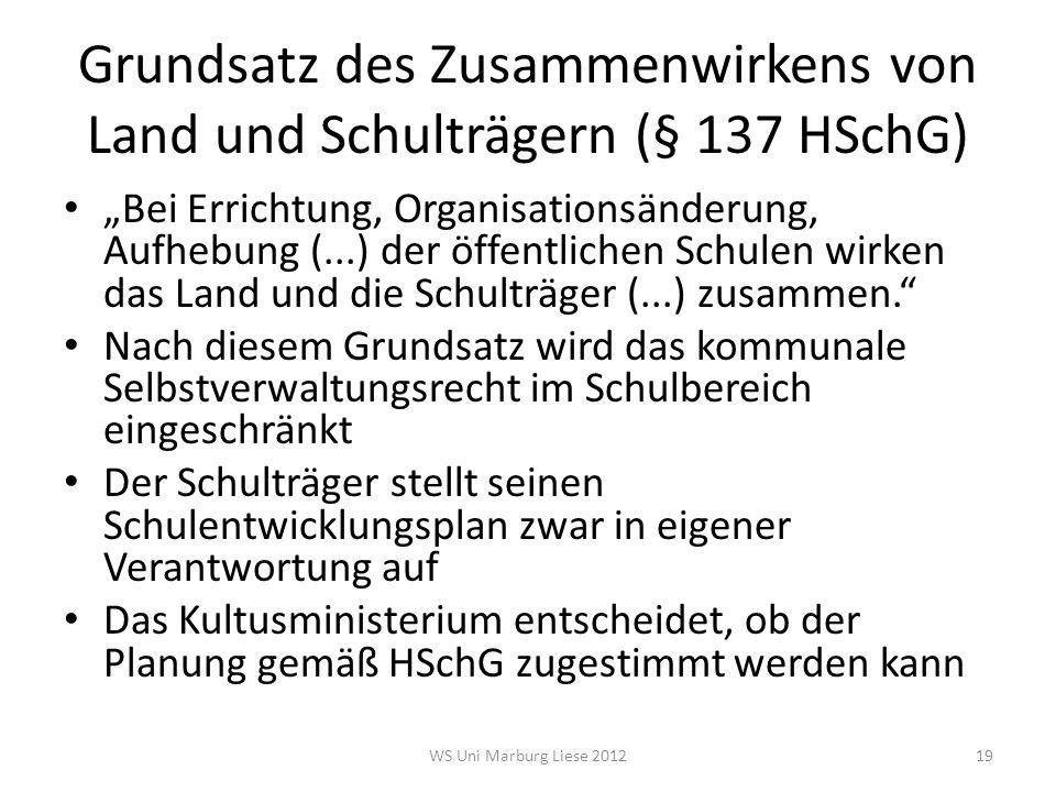 """Grundsatz des Zusammenwirkens von Land und Schulträgern (§ 137 HSchG) """"Bei Errichtung, Organisationsänderung, Aufhebung (...) der öffentlichen Schulen"""
