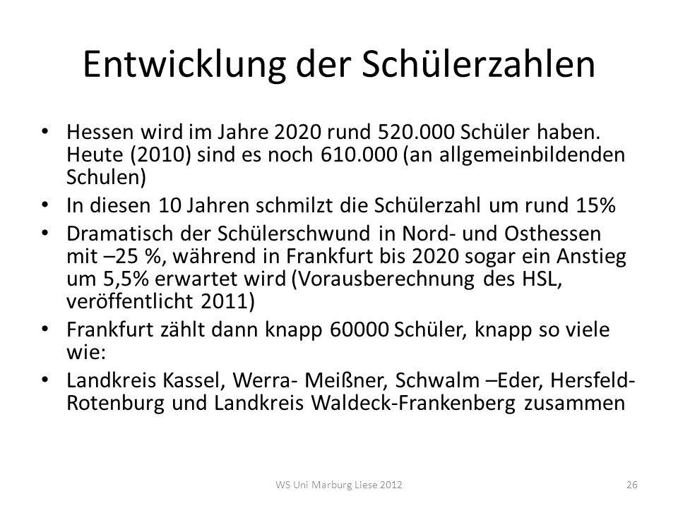 Entwicklung der Schülerzahlen Hessen wird im Jahre 2020 rund 520.000 Schüler haben. Heute (2010) sind es noch 610.000 (an allgemeinbildenden Schulen)