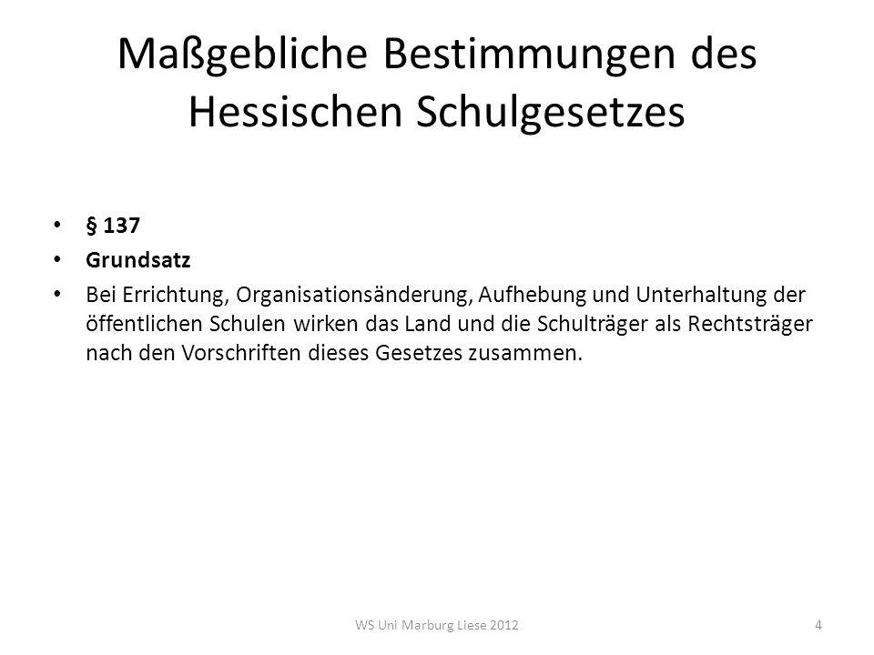 Maßgebliche Bestimmungen des Hessischen Schulgesetzes § 137 Grundsatz Bei Errichtung, Organisationsänderung, Aufhebung und Unterhaltung der öffentlich