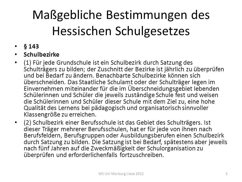 Maßgebliche Bestimmungen des Hessischen Schulgesetzes § 143 Schulbezirke (1) Für jede Grundschule ist ein Schulbezirk durch Satzung des Schulträgers z
