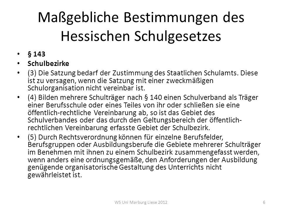 Maßgebliche Bestimmungen des Hessischen Schulgesetzes § 143 Schulbezirke (6) Das Kultusministerium wird ermächtigt, bei Einführung neuer Ausbildungsberufe nach dem Berufsbildungsgesetz für bis zu drei Schülerjahrgänge vorläufige Regelungen zu treffen.